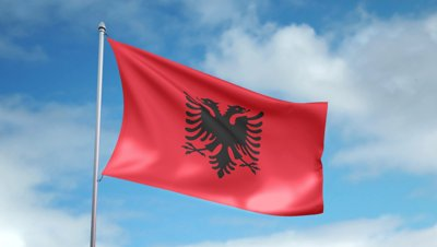 stock-footage-hd-p-clip-of-a-slow-motion-waving-flag-of-albania-seamless-seconds-long-loop