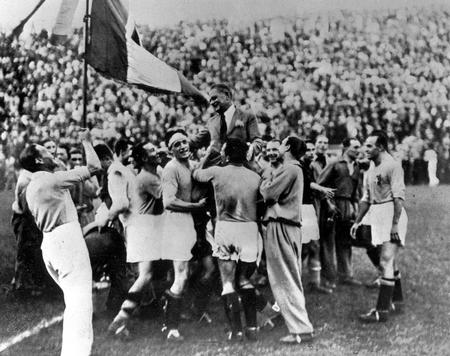 1934 World Cup Final. Rome, Italy.  Italy 2 v Czechoslovakia 1. 10th June, 1934. The victorious Italian team carry their coach Vittorio Pozzo as they celebrate an historic victory.
